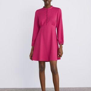 ZARA BUTTONED DRESS PINK HIGH COLLARED A LINE NWT